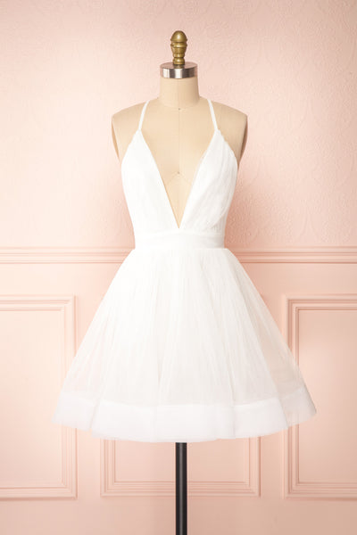 Anjali White Short Flared Tulle Dress | Boutique 1861 front view