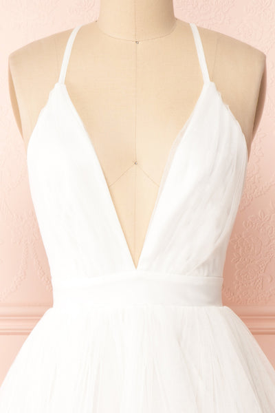 Anjali White Short Flared Tulle Dress | Boutique 1861 front close-up