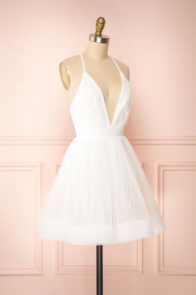Anjali White Short Flared Tulle Dress | Boutique 1861 side view