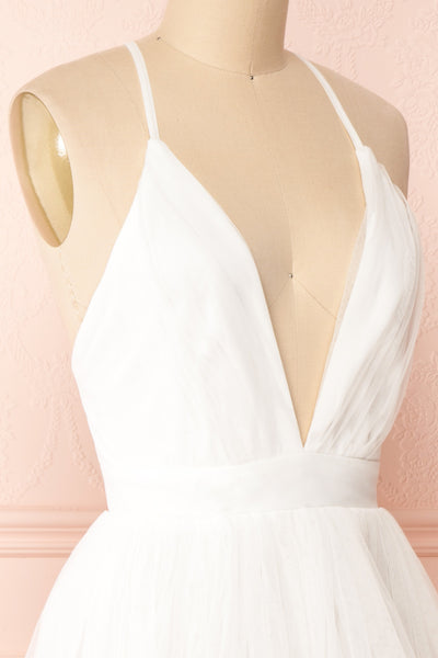 Anjali White Short Flared Tulle Dress | Boutique 1861 side close-up