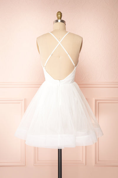 Anjali White Short Flared Tulle Dress | Boutique 1861 back view