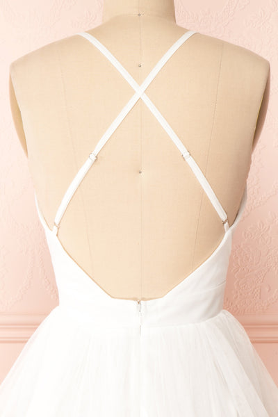 Anjali White Short Flared Tulle Dress | Boutique 1861 back close-up
