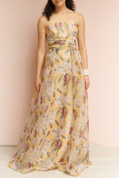 Anouk Yellow Floral Bustier Maxi Dress | Boutique 1861 on model