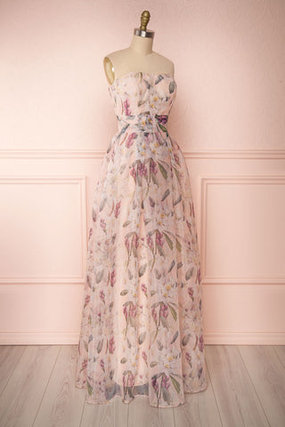 Anouk Blush Pink Floral Bustier Gown | Boutique 1861 side view