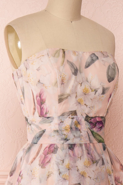 Anouk Blush Pink Floral Bustier Gown | Boutique 1861 side close-up