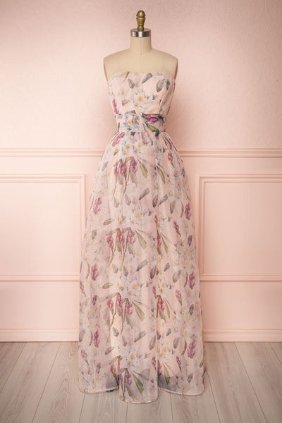 Anouk Blush Pink Floral Bustier Gown | Boutique 1861 front view