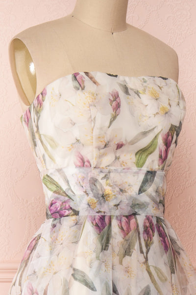 Anouk Ivory Floral Bustier Gown | Boutique 1861 side close-up