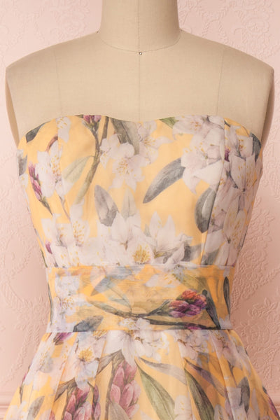 Anouk Yellow Floral Bustier Gown | Boutique 1861 front close-up
