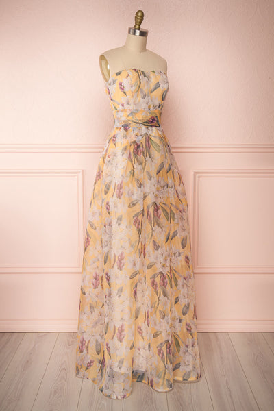 Anouk Yellow Floral Bustier Gown | Boutique 1861 side view