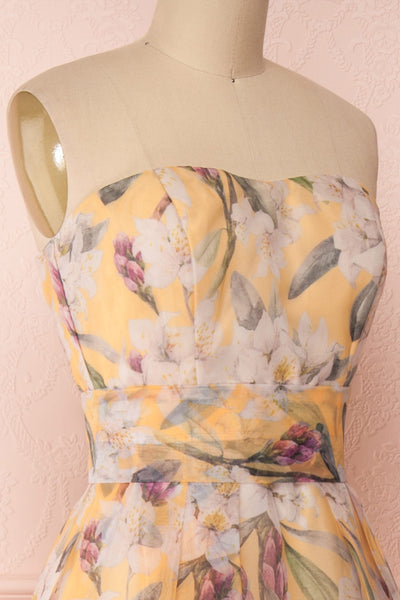 Anouk Yellow Floral Bustier Gown | Boutique 1861 side close-up