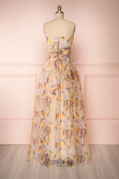 Anouk Yellow Floral Bustier Gown | Boutique 1861 back view