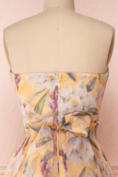 Anouk Yellow Floral Bustier Gown | Boutique 1861 back close-up