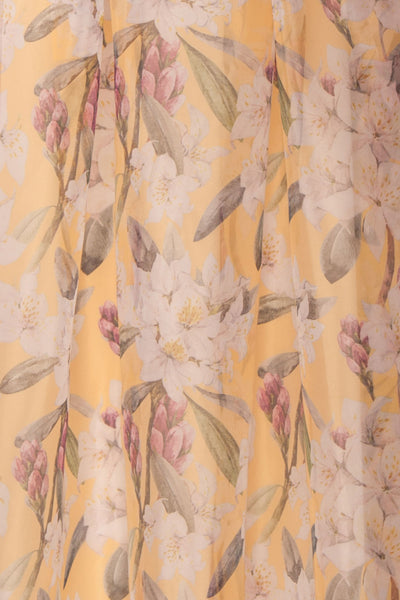 Anouk Yellow Floral Bustier Gown | Boutique 1861 fabric details