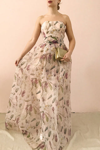 Anouk Blush Pink Floral Bustier Gown | Boutique 1861 model look