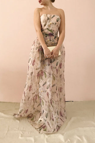 Anouk Blush Pink Floral Bustier Gown | Boutique 1861 on model