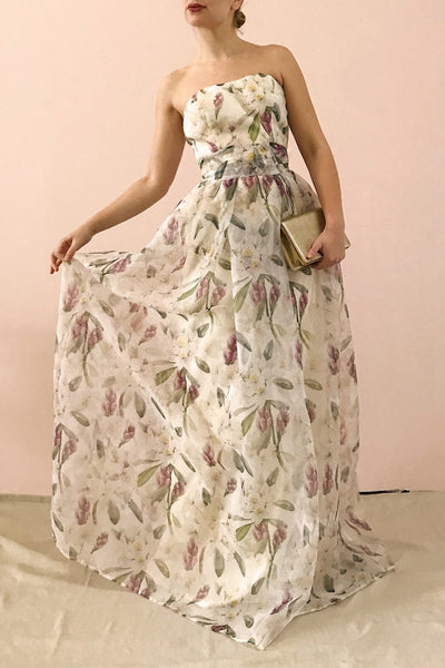 Anouk Ivory Floral Bustier Gown | Boutique 1861 on model