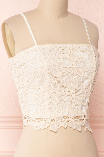 Anteai Cream Crocheted Lace Crop Camisole | Boutique 1861 4