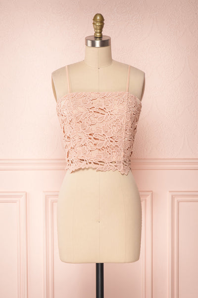Anteai Peach Pink Crocheted Lace Crop Camisole | Boutique 1861 1