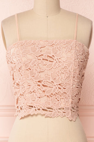 Anteai Peach Pink Crocheted Lace Crop Camisole | Boutique 1861 2