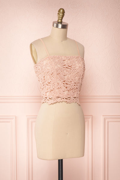 Anteai Peach Pink Crocheted Lace Crop Camisole | Boutique 1861 3