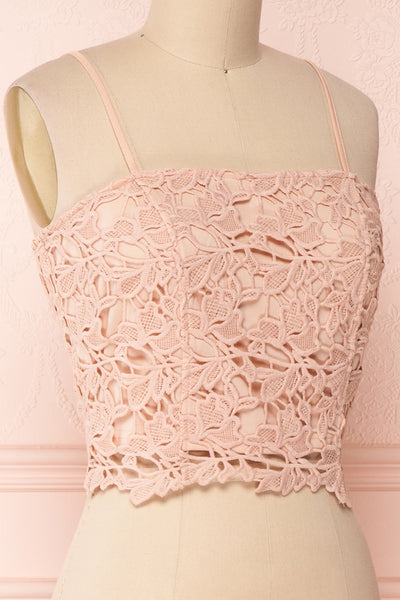 Anteai Peach Pink Crocheted Lace Crop Camisole | Boutique 1861 4