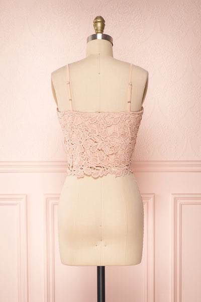 Anteai Peach Pink Crocheted Lace Crop Camisole | Boutique 1861 5