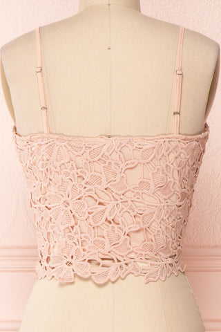Anteai Peach Pink Crocheted Lace Crop Camisole | Boutique 1861 6