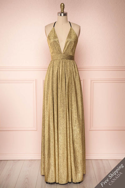 Anywa Or Gold Glitter Dress | Robe Longue front view FS | Boutique 1861