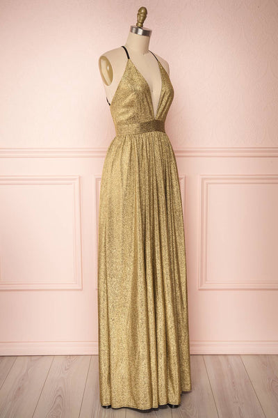 Anywa Or Gold Glitter Dress | Robe Longue side view | Boutique 1861