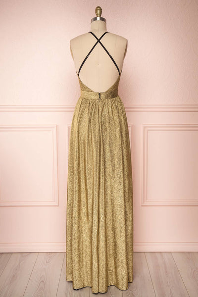 Anywa Or Gold Glitter Dress | Robe Longue back view | Boutique 1861