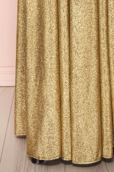 Anywa Or Gold Glitter Dress | Robe Longue skirt close up | Boutique 1861