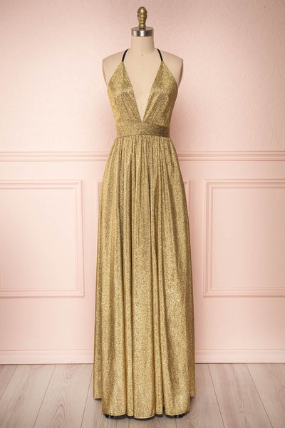 Anywa Or Gold Glitter Dress | Robe Longue | Boutique 1861