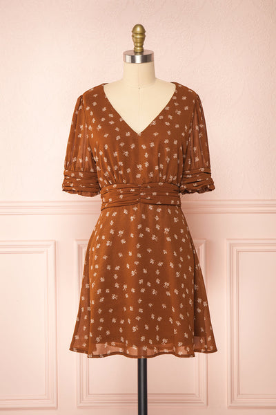 Aosagibi Brown Patterned Short Sleeve Dress | Boutique 1861 front view