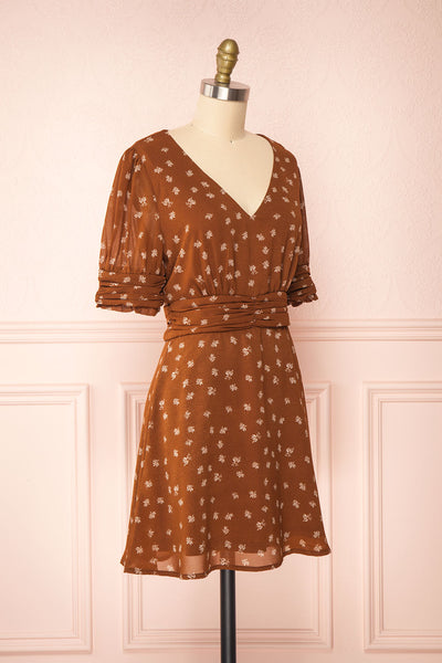 Aosagibi Brown Patterned Short Sleeve Dress | Boutique 1861 side view