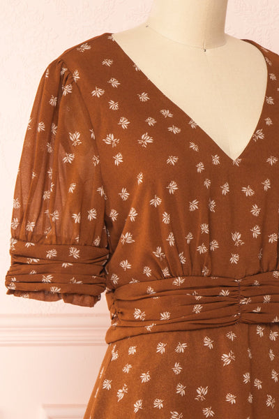 Aosagibi Brown Patterned Short Sleeve Dress | Boutique 1861 side close-up