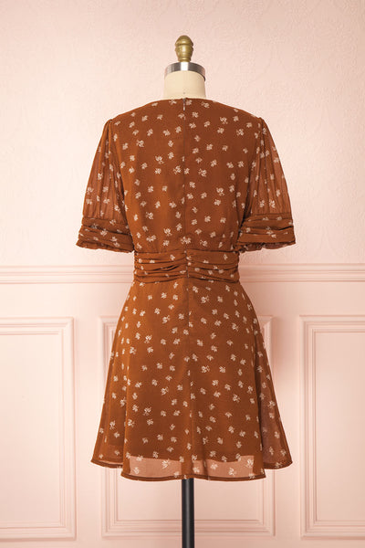 Aosagibi Brown Patterned Short Sleeve Dress | Boutique 1861 back view