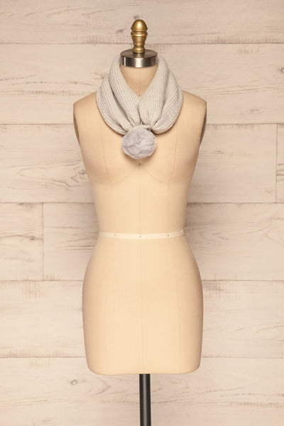 Apalda Gris Grey Knit Tuque with Pompom scarf closed | La Petite Garçonne