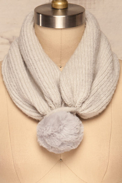 Apalda Gris Grey Knit Tuque with Pompom scarf close close-up | La Petite Garçonne