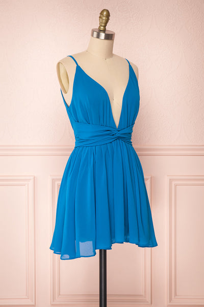 Arachne Teal Short Chiffon A-Line Dress | Boutique 1861 3