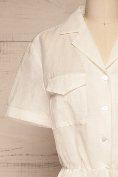 Arahal White Short Sleeved Linen Romper | La petite garçonne front close-up
