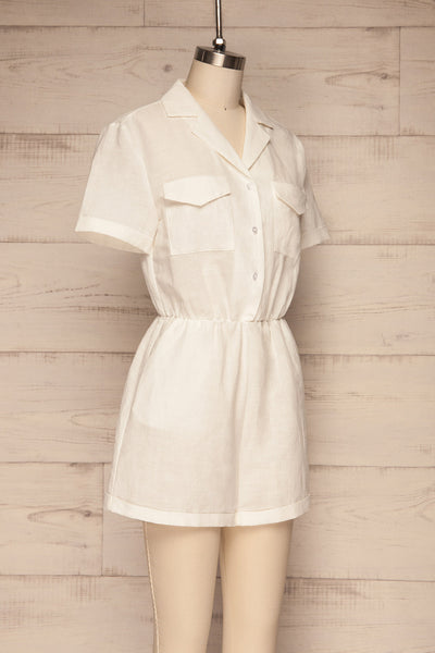 Arahal White Short Sleeved Linen Romper | La petite garçonne side view