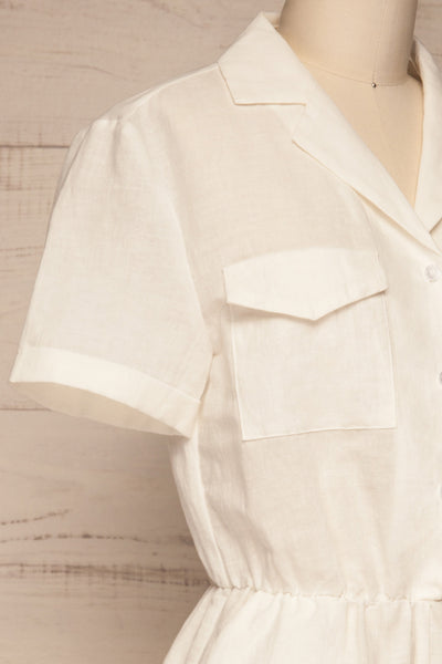 Arahal White Short Sleeved Linen Romper | La petite garçonne side close-up