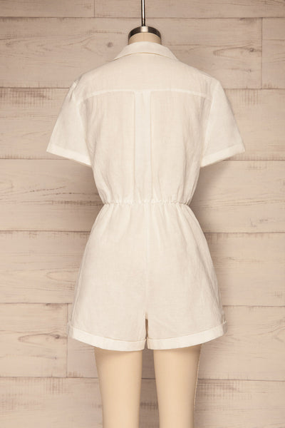Arahal White Short Sleeved Linen Romper | La petite garçonne back view