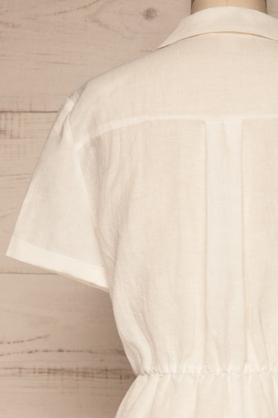 Arahal White Short Sleeved Linen Romper | La petite garçonne back close-up
