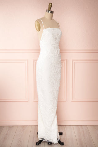 Aranna White Lace Bridal Dress | Robe Blanche side view | Boudoir 1861
