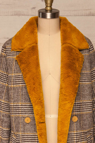 Arcanum Soft Plaid Topcoat | Manteau | La Petite Garçonne front close-up open