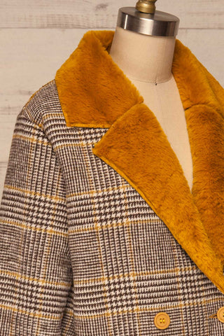Arcanum Soft Plaid Topcoat | Manteau | La Petite Garçonne side close-up