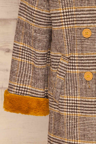 Arcanum Soft Plaid Topcoat | Manteau | La Petite Garçonne sleeve close-up