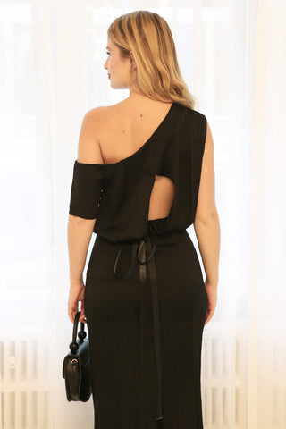 Ardee Noir Black Satin Gown | Robe longue | La Petite Garçonne on model from the back
