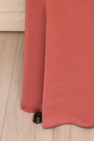 Ardee Ambre Pink Satin Gown | Robe longue | La Petite Garçonne bottom close-up